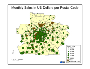 Monthly sales in US dollars per postal code